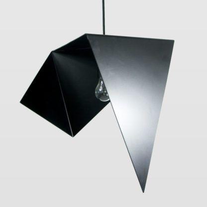 oryginalna lampa wisząca, czarna, metalowa