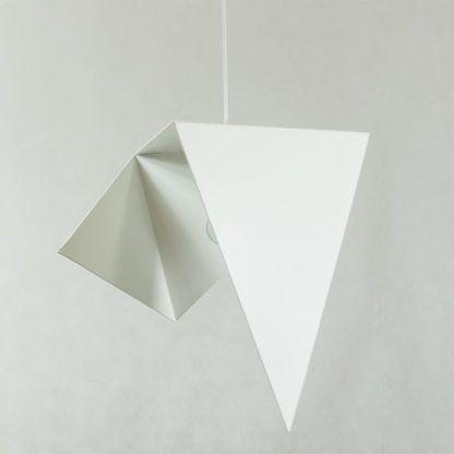 nowoczesna lampa wisząca, biały metal