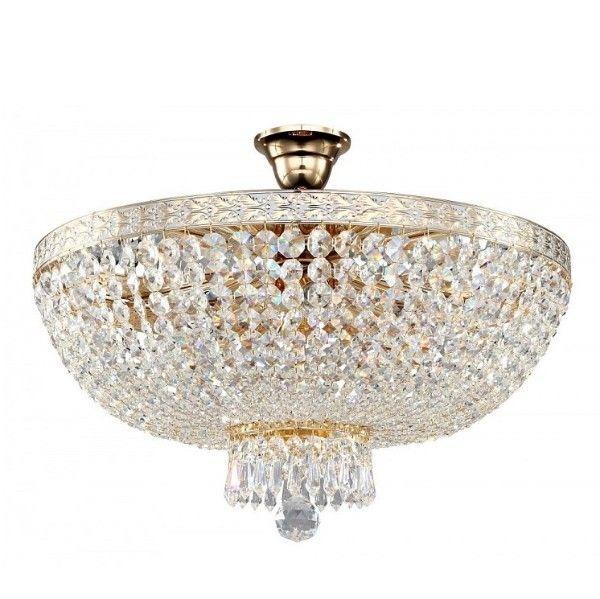 złoty, kryształowy plafon luksusowy