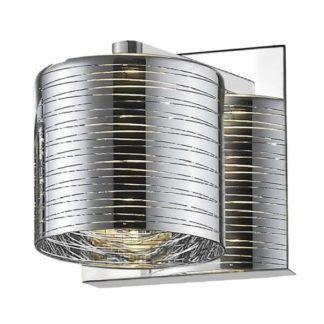 Srebrny kinkiet Pioli - klosz w prążki, nowoczesny