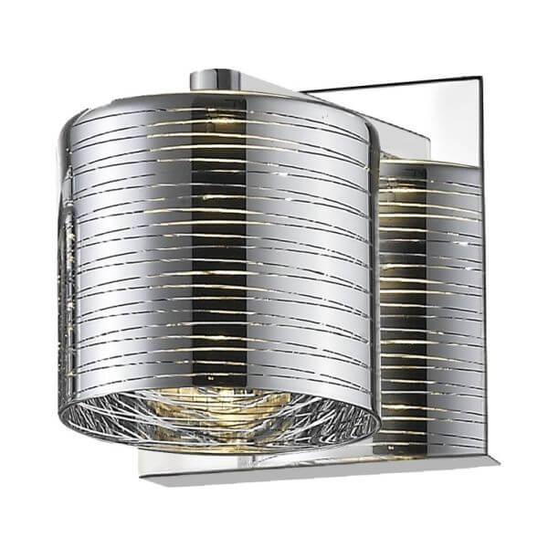 nowoczesny, srebrny, połyskujący kinkiet - aranżacja przedpokój, klatka schodowa