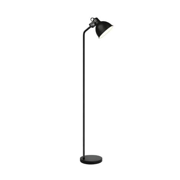 czarna lampa podłogowa w stylu industrialnym, skandynawskim, klosz w kształcie reflektora