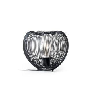 Metalowa lampa stołowa Cage - ażurowy klosz, czarna