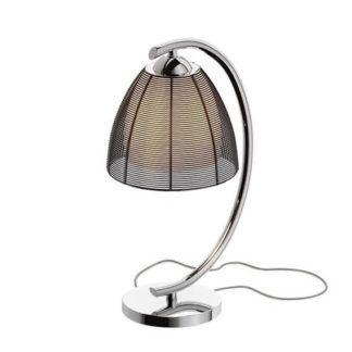 Elegancka lampa stołowa Pico - srebrna, czarny klosz