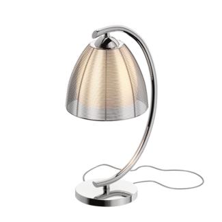 Efektowna lampa stołowa Pico - szklany klosz, srebrna obudowa