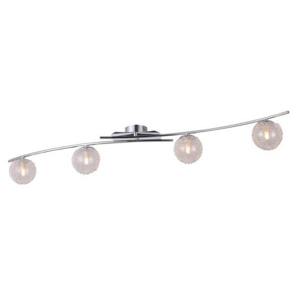 nowoczesna lampa sufitowa, szklane kule na poziomej belce, srebrna