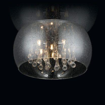 szklany plafon w stylu nowoczesnym, szary, z kryształkami, efekt deszczu