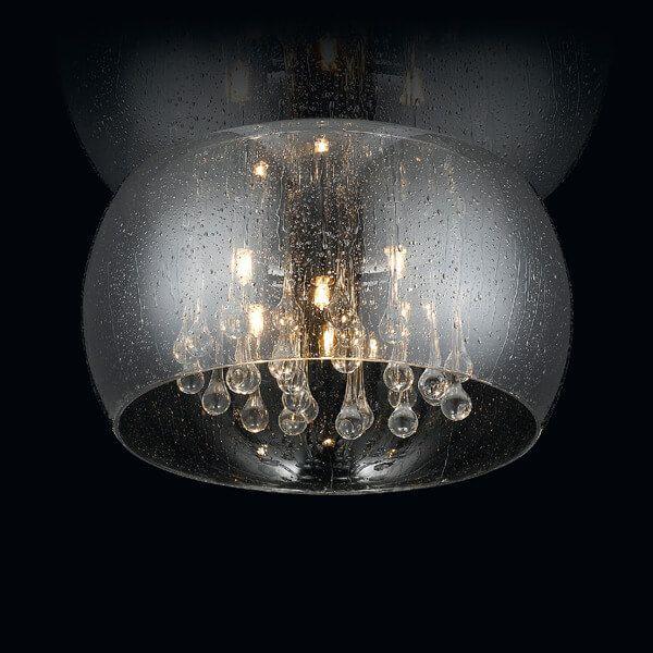okrągły plafon z efektem kropli, kryształy w szklanym kloszu, szara