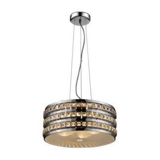 Efektowna lampa wisząca Barbosa - srebrna, z kryształkami