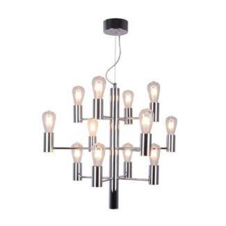 Designerski żyrandol Candel - srebrny, 12 punktów światła, industrialny