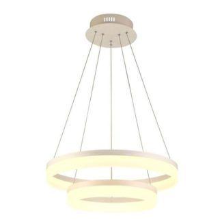 Biała lampa wisząca Circle - ledowe okręgi, nowoczesna