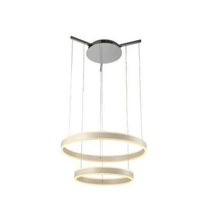 lampa wisząca LED, świecące, srebrne okręgi, styl nowoczesny