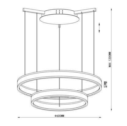 minimalistyczna lampa wisząca z okręgów LED