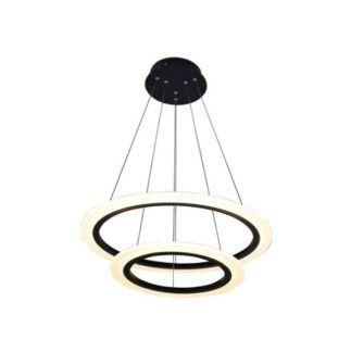 Designerska lampa wisząca Circle - pierścienie LED, czarna