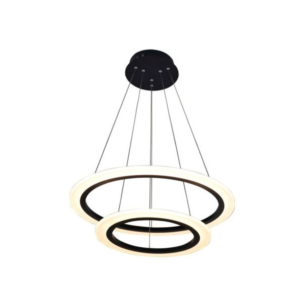ledowa lampa wisząca, czarna ze świecącymi okręgami