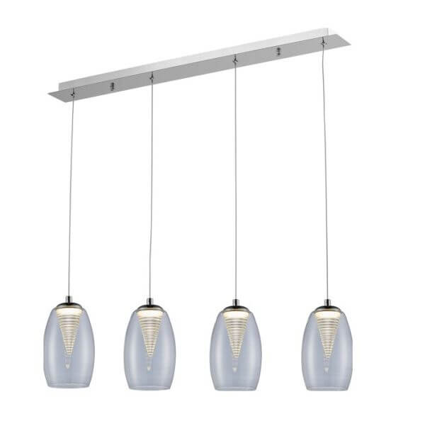 lampa wisząca ze szklanymi kloszami z dekoracyjną - aranżacja nowoczesna kuchnia ciemna