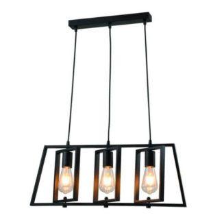 Industrialna lampa wisząca Fausto - czarna, metalowa