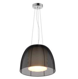 Stylowa lampa wisząca Filo - szklany klosz, ażurowa, czarna oprawa