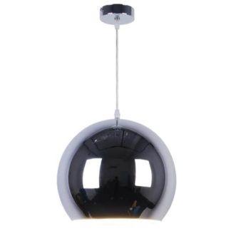 Srebrna lampa wisząca Glob - metalowa kula