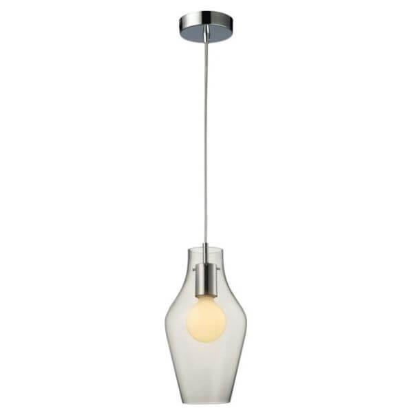 szklana, transparentna lampa wisząca w stylu nowoczesnym