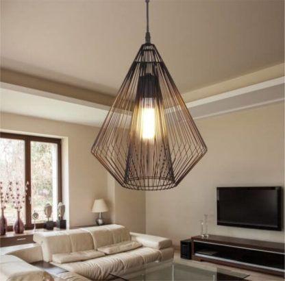 metalowa lampa wisząca, scandi, czarny diament