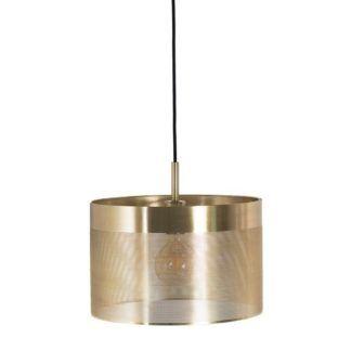 Metalowa lampa wisząca Grid  - złota, ażurowa