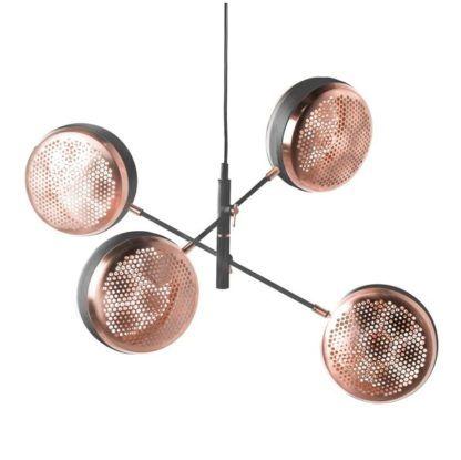 czarna lampa wisząca, designerski kształt klosze miedziane