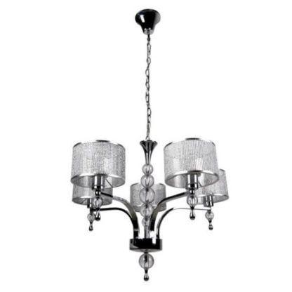 połyskliwy żyrandol z kryształkami i szklanymi detalami, srebrny