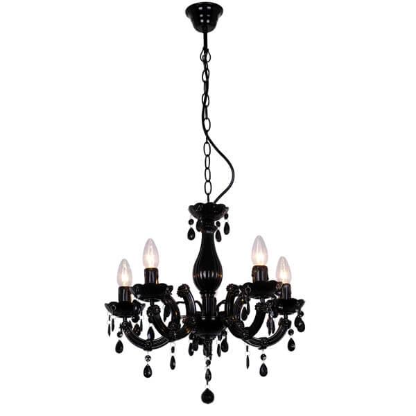czarny żyrandol gustowny, czarne kryształki, glamour