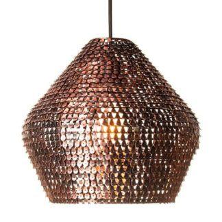 Designerska lampa wisząca Mesh - miedź, połyskliwa