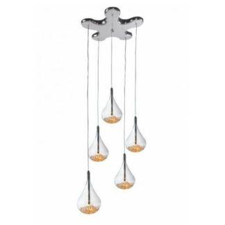 Nowoczesna lampa wisząca Perle - szklane klosz, kryształki