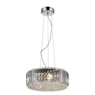 Okrągła lampa wisząca Prince - styl glamour, połyskująca