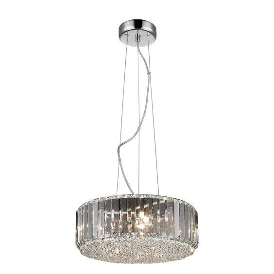 okrągła, kryształowa, luksusowa lampa wisząca w stylu glamour, światło nad stół