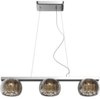 Potrójna lampa wisząca Rain - szklane klosze z kryształkami