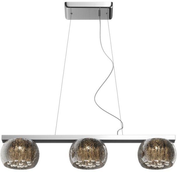 szklana lampa wisząca w stylu nowoczesnym glamour, kryształki wewnątrz kloszy