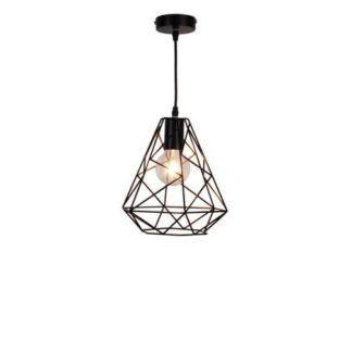 Czarna lampa wisząca Rod - druciana, geometryczna