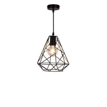 metalowa, czarna, druciana lampa wisząca w kształcie diamentu, czarna