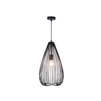 Ażurowa lampa wisząca Silvia - druciany, czarny klosz