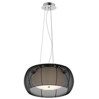 Lampa wisząca Tango - szklany klosz w czarnej obudowie