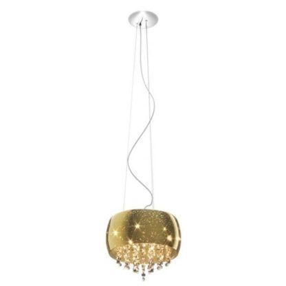 złota, połyskująca lampa wisząca z kryształkami