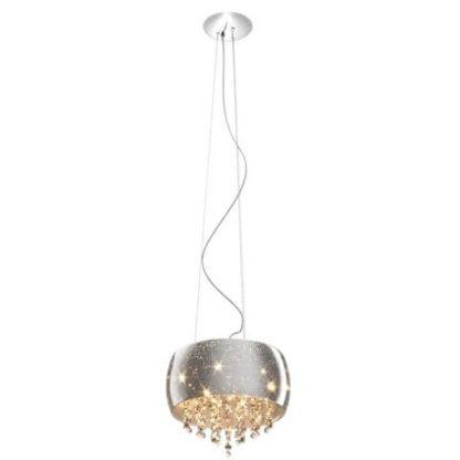 srebrna lampa wisząca z kryształkami