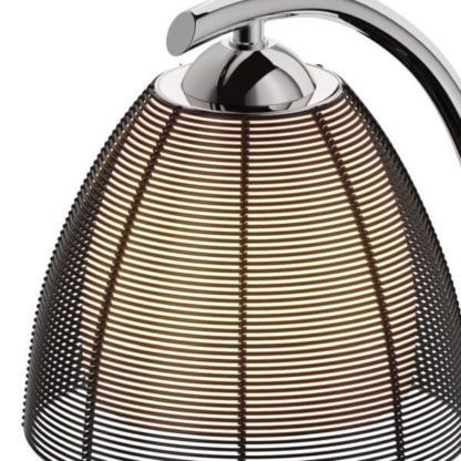 lampa stołowa w stylu retro, ażurowy klosz z czarnego aluminium