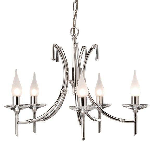 Elegancki żyrandol Brightwell - srebrny, klasyczny, 5 żarówek