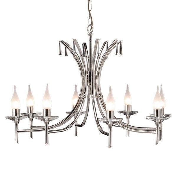 Duży żyrandol Brightwell - srebrny, 8 żarówek, świecznikowy