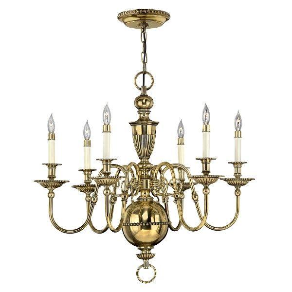 Mosiężny żyrandol Cambridge - klasyczny świecznik, 6 żarówek