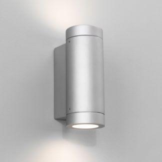 Nowoczesny kinkiet zewnętrzny Porto Plus Twin - srebrna tuba, IP44