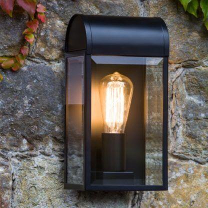 kinkiet z bezbarwnym kloszem, czarna oprawa, latarnia - oświetlenie zewnętrzne