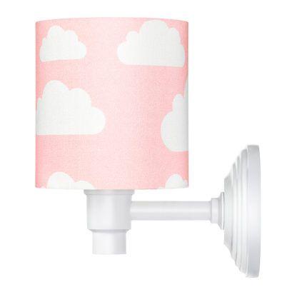 różowy kinkiet w białe chmurki dziecięcy