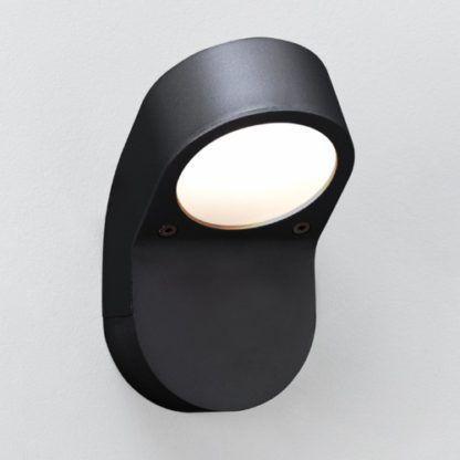 czarny, nowoczesny kinkiet zewnętrzny, lekko zaokrąglona forma