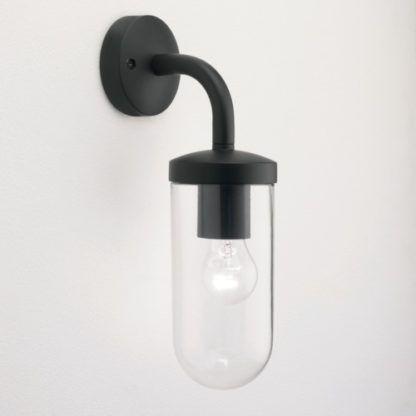 kinkiet zewnętrzny, czarna oprawa, szklany klosz